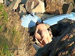 Ausgezeichnete spy cam Footage von Strand Knall