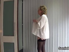 Unfaithful british mature lady sonia showcases her massive j