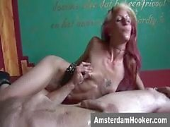 Dutch prostitute takes sticky facial