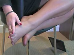 Amazing nylon foot smelling worship