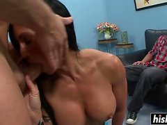 Husband watches her being fucked hard
