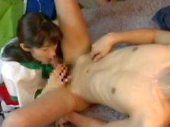 Passionate brunette babe giving a sensual handjob