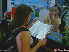 Girl gets dildo fucked by hot teen in travel office
