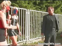 Guy walks wityh two hot blondes showing