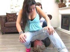 Emily and Saskia jeans facesitting