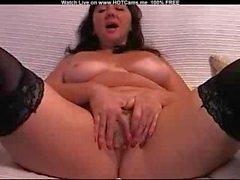 Amateur Mature Brunette With Stockings Masturbate