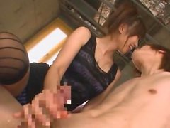 Asian hottie Saki Ayano blows his rod and gets fingered by another babe