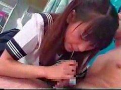 Hot asian schoolgirl strips and fucks the swim teacher