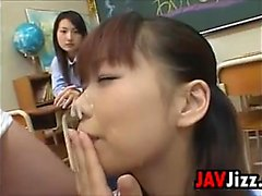 Japanese Girls Sharing Cum In A Classroom