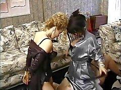 Mature sub sucks nipples and licks asses in lesbian threesome