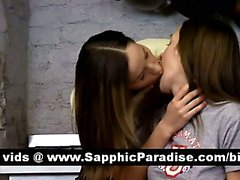 Stunning brunette lesbos licking and fingering pussy and having lesbo love