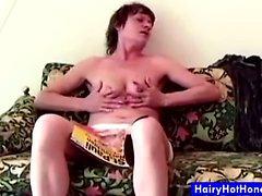 Hairy mature Vibrator Fucking