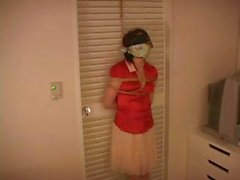 Asian girl is tied up and blindfolded with a vibrator in her panties