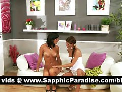 Amazing brunette lesbos kissing and getting naked and having lesbo sex