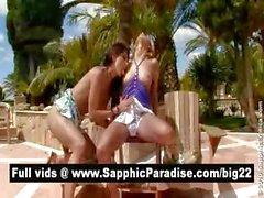 Stunning brunette and blonde lesbians kissing and having lesbian sex