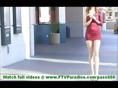 Mia young blonde girl with big tits flashing tits and toying pussy in public