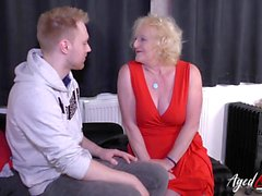 Mature granny in stockings seduces young guy and fucks him