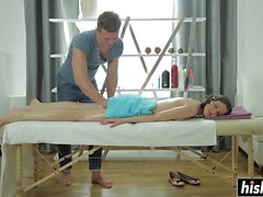 Neona gets her shaved snatch drilled