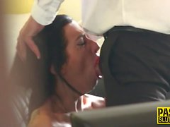 Mouth fucked sub squirts