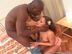 Brunette babe fucked by black man