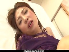 Mafuyu Hanasaki chokes with cock in serious porn show