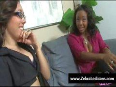 Zebra Girls - Ebony lesbian babes fuck deep strapon toys 19