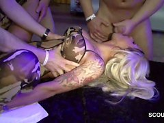 German Skinny Amateur Teen in Gangbang with Many Older Mans