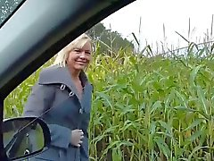 German milf creampie outdoor