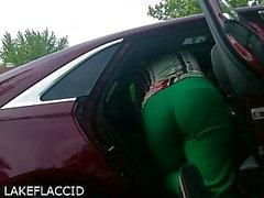 Latina? Nurse Bending in Car