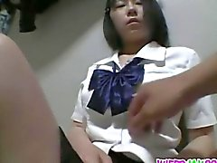 Teen bends for a strong dick