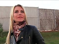Beautiful babe fucks in public