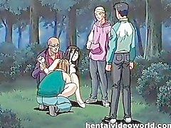 Sapık bağlanmış ve parkta yer anime metres becermek