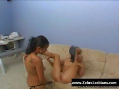 Zebra Girls - Ebony lesbian babes enjoy deep strap-on fuck 14