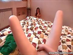 Cute face blond Alice takes dildo up the part1
