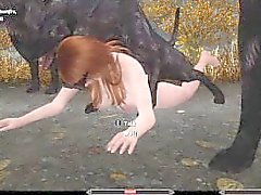 Sexy Skyrim-Nord defeated by a pack of Wolves