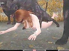 Sexy Skyrim-Nord derrotado por un paquete de lobos