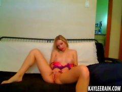 Kaylee Rain Rubs Pussy Through Pink Handcuffs