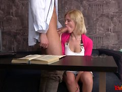 This playful blonde teeny knows a perfect way to distract a