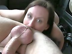 Horny wife pussy banged and facialed by fake taxi driver