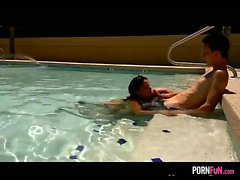 Blowjob In The Hotel Swimming Pool