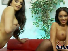 Naughty lesbian foursome with smoking hot starlets