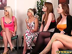 CFNM reverse hj gang bang with Amy Matthews