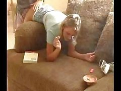 Perfect Blonde Fucking While Smoking On Couch
