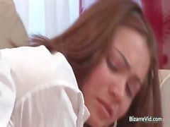 Two cute babes spank each other and have part2