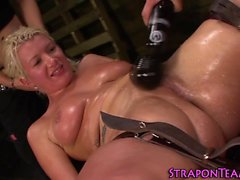 Toyed tied slave squirts