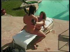 Busty brunette turns around and gets banged from the rear outside