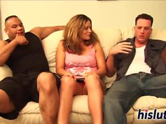 Raunchy gangbang session with a slutty floozy