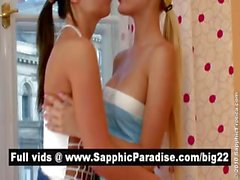 Sensual blonde and brunette lesbians kissing and licking nipples and having lesbian love