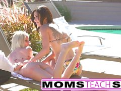 Stepmom gives teens a lesson in pussy licking