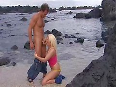 Blonde Jemstone gets that cock and gets fucked on the beach